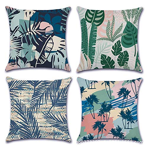 Languo Maoyi Christmas Throw Pillow Covers, Decorative Pillow Cases, Cotton Linen Cushion Covers for Sofa, Couch, Bed and Car (18'x 18',Pack of 4) (Leaves)