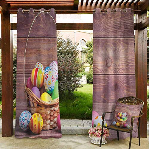 Easter Balcony Waterproof Curtains Colorful Eggs with Flowers and Polka Dots in a Weave Basket on Wooden Rustic Pattern Pergola Grommet Patterned Curtain 120x84 INCH,Multicolor