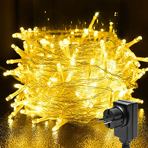 BACKTURE Lichterkette, 25M 200 LEDs Weihnachtsbeleuchtung Warmweiß Lichtervorhang, 8 Leuchtmodi Dimmbar mit Stecker, IP44 Wasserdicht, Lichterkette für Party, Feier, Hochzeit, für Innen und Außen