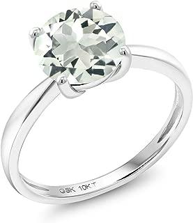 10K White Gold 1.50 Ct Round Green Prasiolite 8MM Engagement Solitaire Ring