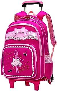 KJRJLG Girl Primary Trolley School Backpack Book Bag for Girls Wheeled Rucksack (Color : Red)