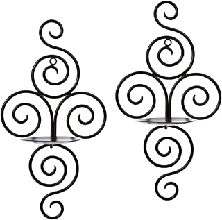 Xiton 2PCS Wall Candle Sconces Wall Art Hanging Candle Stands Iron Spiral Candle Holder Elegant For Home Wall Decor