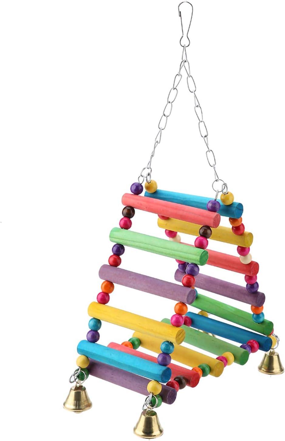 Pet Bridge Swing Bird Ladders In a popularity Reservation Parrot Wood Per Bells Toys