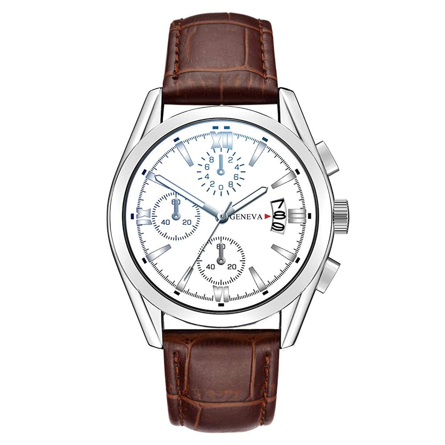 Fashion Men's Watch Stainless Steel Dial Casual Business Leather Bands Analog Quartz Watches