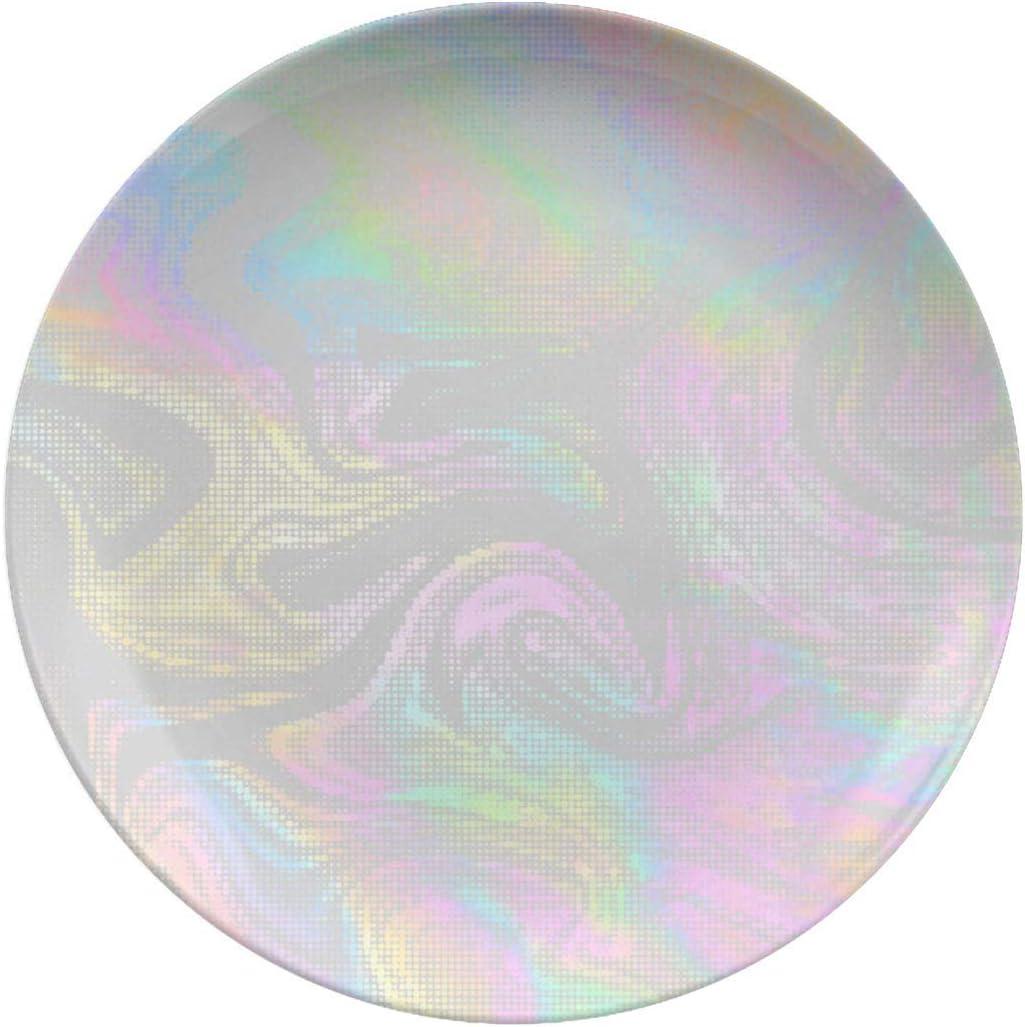 Manufacturer regenerated product Porcelain Dinner Plates New item Vector Holographic Dinne Halftone Design