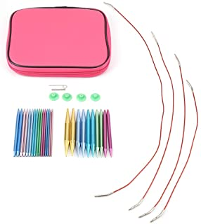 Fdit Interchangeable Circular Knitting Needle Sets Aluminum Plastic Colorful