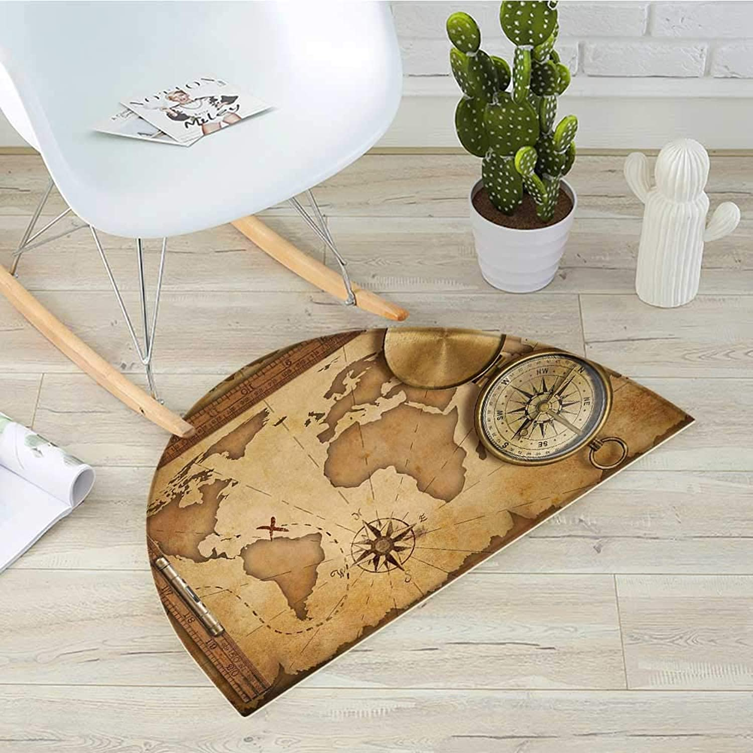Map Semicircular CushionAged Vintage Treasure Map Ruler Rope Old Compass Antique Adventure Discovery Entry Door Mat H 35.4  xD 53.1  Brown Pale Brown