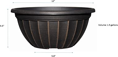 """Classic Home and Garden Haverhill Bowl 12"""", Antique Copper"""