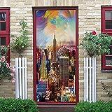 BARFPY 3D Etiqueta de Puerta Paisaje colorido y bullicioso de la ciudad para la puerta de renovación del arte mural de puerta vinilo calcomanía impermeable pared de la sala de estar Cocina dormitorio
