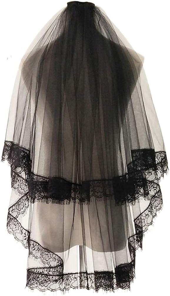 LeJulyeekay Sexy Lace Edge Black Wedding Veil Cosplay Halloween Hair Accessories