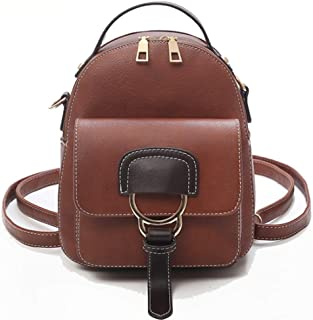 Fashion Small Backpack Women Leather Shoulder Bag Multi-Function Mini Backpacks Female School Bagpack Bag for Teenage Grils (Color : Brown, Size : 17 * 8 * 23cm)
