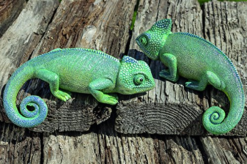 Juego de 2 Camaleones Figuras Decorativas de Jardín Exteriores de Resina Sintética...