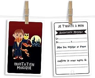 6 cartes et enveloppes invitation anniversaire   Anniversaire fille ou garçon   Thème Sorcier ou magicien inspiré de Harry...