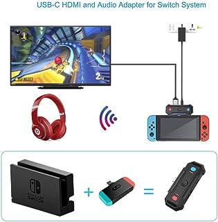 Uniraku  2-in-1 Switch用TV出力変換アダプタ-と無線オーディオアダプタ- Nintendo Switch用TV出力変換、デ一タ、ビデオ、音伝送機能が搭載 無線イヤホンアダプタ-として、同時に2台のイヤホンが連続できます 優...