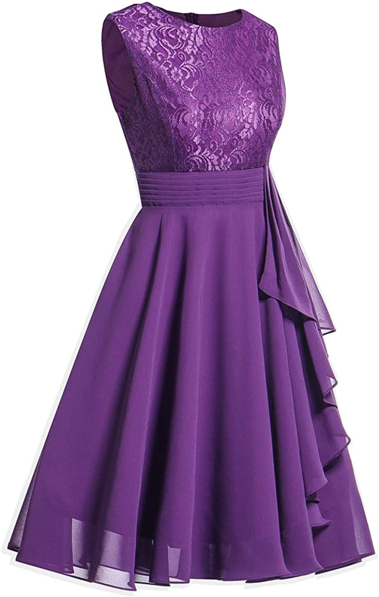 Formal Bridesmaid Dresses for Women Sleeveless Wedding Party Lace Midi A Line Dress