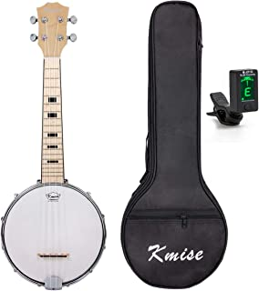 Kmise 7092660 Banjo Ukulele 4 String Ukelele Uke Concert 23 Inch Size Maple with Bag Tuner