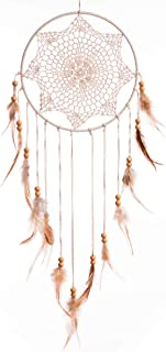 ARTALL Handmade Dream Catcher Brown Feather Boho Decor for Car Kids Bed Room Wall Hanging Decoration Ornament Craft Ivory 26 x 9 inch
