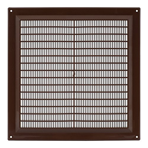 Rejilla de ventilación marrón 250 x 250 mm, 25 x 25 cm, protección contra insectos, rejilla de ventilación de plástico ABS