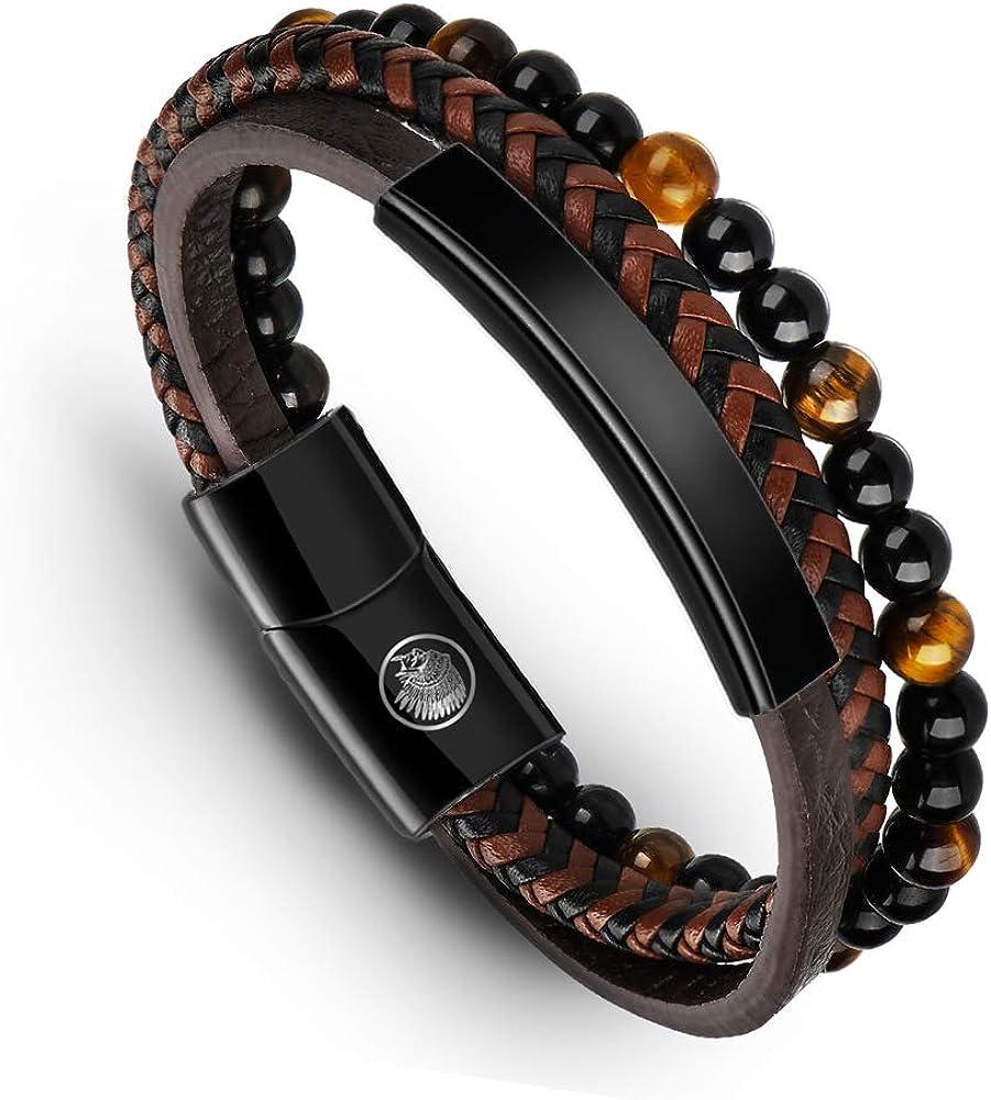 Casisto.J Mens Bead latest Leather Bracelet Men 5 ☆ popular Magnetic for Steel Clas
