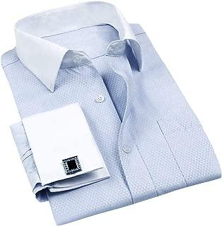 Men's Dress Shirt Slim Fit Button Down Stripe Checked Shirt