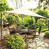 OKAWADACH Toldo Vela de Sombra Triangular 3 x 3 x 3m, Vela de Sombra Protección UV para Patio, Exteriores, Jardín, Beige Claro