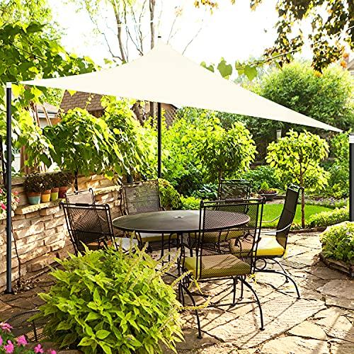 OKAWADACH Sonnensegel, Polyester Sonnensegel Sonnenschutz Garten Balkon und Terrasse wetterbeständig mit UV Schutz Windschutz für Garten Terrasse Camping (Dreieck 3 x 3 x 3m Cremeweiß)