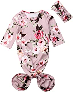 Infant Newborn Baby Floral Sleeping Bag Swaddle Blanket with Headband Outfits (Grey, 0-6 Months)