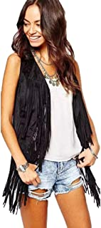 Women Sleeveless Tassel Cardigan Fringed Vest Cardigan Punk Jacket Outwear Autumn Winter Suede Shawl Top