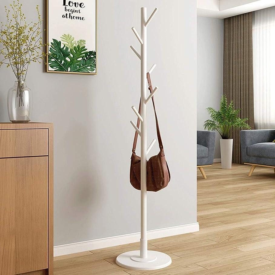 指定する超えて無条件シンプル 耐久性のある木製コートラックスタンド出入口ホールツリーコートツリー用帽子服財布スカーフハンドバッグ (Color : White, Size : 35×35×165cm)