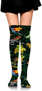 MKLOS 通気性 圧縮ソックス Breathable Classic Warmer Tube Leg Stockings Frogs On Leaves Green Exotic Psychedelic Print Compression High Tube Thigh Boot Stockings Knee High Women Girl