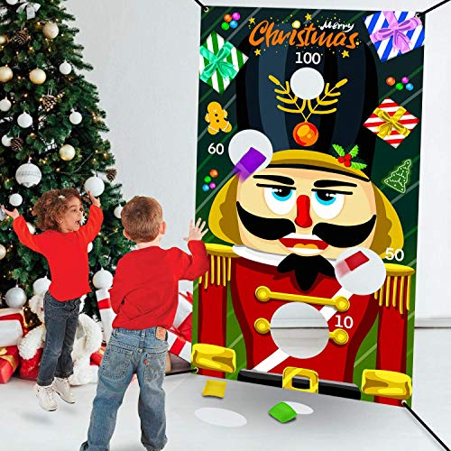 TURNMEON Christmas Bean Bag Toss Games Christmas Party Favors Supplies Game Toys Nutcrackers with 4 Score Holes Kids Adults Family Christmas Party Decor Indoor Outdoor Toss Games (30' X 54')