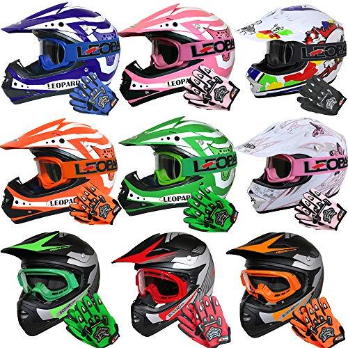 Leopard LEO-X19 {Orange Kinder Motorrad Helm S(49-50cm) + Handschuhe S-5cm + Brille} Kinder Motorradhelm Full Face MX Helmet Mädchen Jungen Dirt Bike