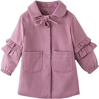 Xifamniy Infant Girls Woolen Coat Winter Solid Color Fungus Sleeve Thicken Baby Jacket