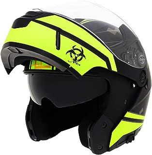 Triangle Motorcycle Helmets Modular Dual Visor Flip Up (Large, Matte Black/Yellow)