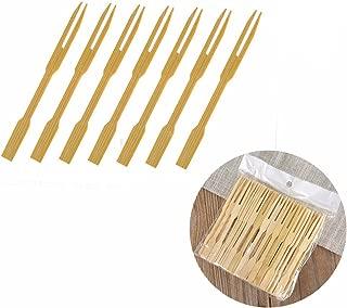 UPlama 600Pcs Bamboo Forks,Wooden Appetizer Forks for Appetizer, Cocktail, Fruit, Pastry, Dessert,3.4inch