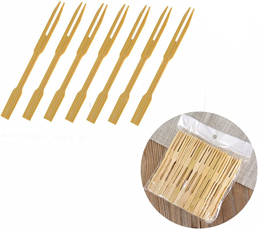 UPlama 600Pcs Bamboo Forks Wooden Appetizer Forks For Appetizer Cocktail Fruit Pastry Dessert 3 4inch