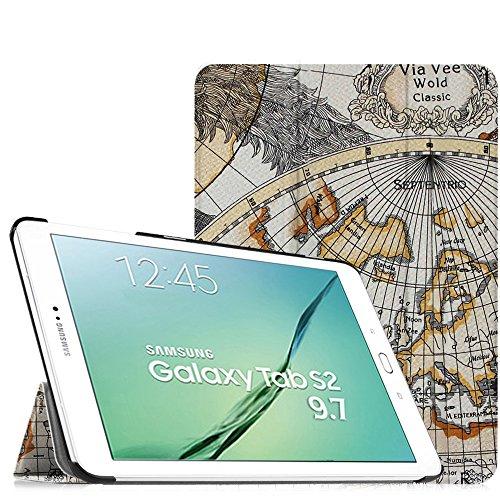 Fintie Hülle für Samsung Galaxy Tab S2 9.7 T810N / T815N / T813N / T819N 24,6 cm (9,7 Zoll) Tablet-PC - Ultra Schlank Ständer Cover Schutzhülle mit Auto Schlaf/Wach Funktion, Landkarte Design