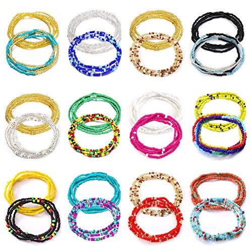 Honsny 24PCS Waist Beads for Women Colorful African Waist Beads Body Chain Belly Waist Chains Summer Beach Bikini Jewelry
