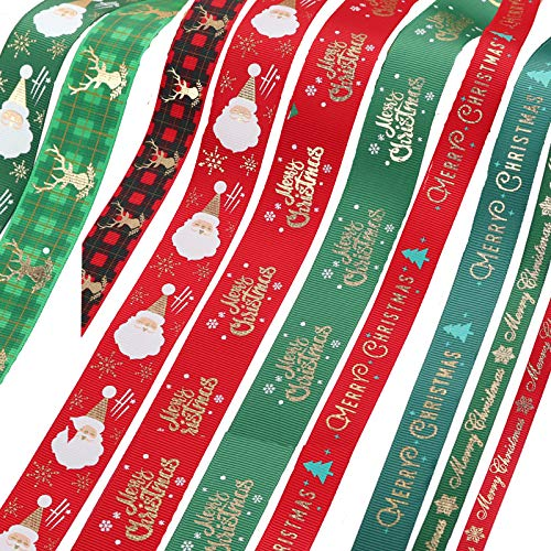 Cinta de Satén de Navidad de Poliéster Cintas Navidad Cinta de Grosgrain a Rayas Navidad Cintas Lazos Embalaje Regalo Cajas para Envoltura de Cajas de Regalo de Navidad