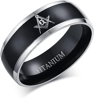 MPRAINBOW Titanium Master Masonic Symbol Wedding Band Ring Free Mason Comfort Fit Ring Black