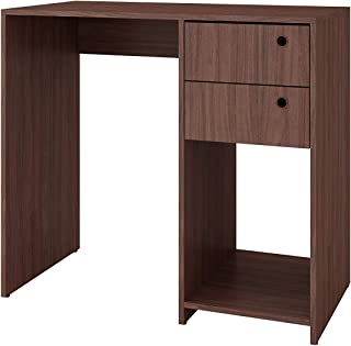 BRV Moveis Computer Desk With Two Drawers and One Shelf, Brown - H 81 cm x W 90 cm x D 45 cm, Wood