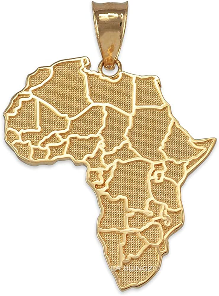 10K Yellow sold out Gold Africa Regular store Country Map Necklace Pendant