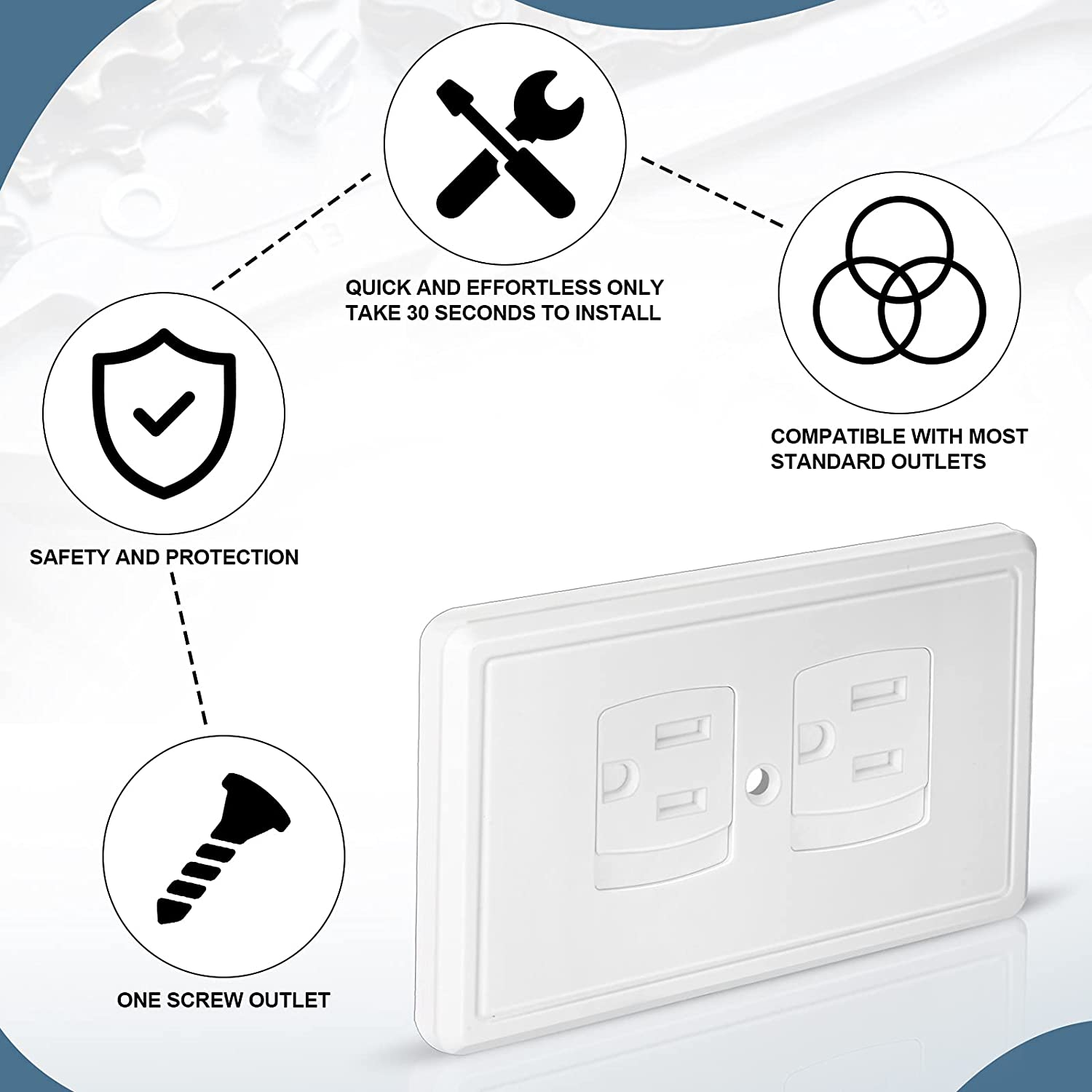 6 Pieces Safety Self-Closing Covers with Screw Standard Outlet Covers, Alternative Wall Socket Covers Plug Protector for Child Proofing Outlets (White)