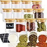 16 Piece Glass Jars with Lids, Airtight Bamboo Lids Spice Jars Containers Set For Spice, Coffee, Beans, Candy, Nuts, Herbs, Dry Food Canisters (Extra Chalkboard Labels) - 7 oz Clear