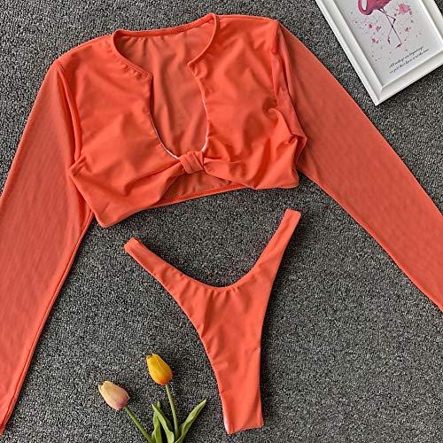ZXG Bikini Damen, Langarm-Shirt mit Netzunterhemd Triangle Bikini Swimwear,Orange,M