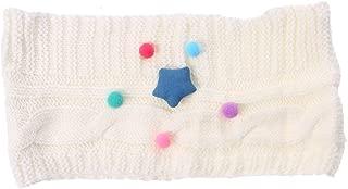 FENICAL Scarf Star Pum Pum Knitted Crochet Scarves Winter O-Ring Neck Warmer for Kids Girls (White)