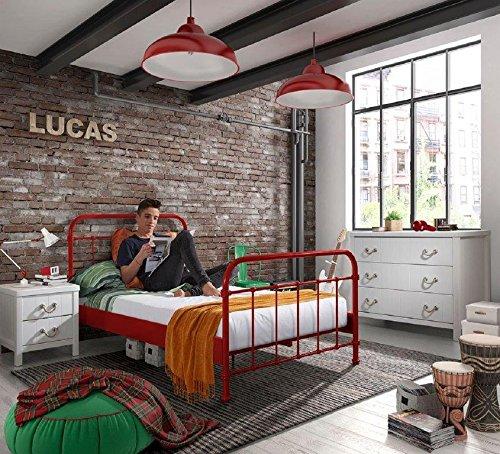 Dreams4Home Metallbett \'Difo IX\' - Jugendbett, Kinderbett, Einzelbett, Singlebett, Maße: (B/H/T) 129 x 111 x 210 cm, Kinderzimmer, Jugendzimmer, Schlafzimmer, Gästezimmer, modern, 1 Lattenrost, Rohrrahmen, Pulverbeschichtet, in rot