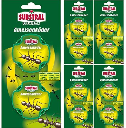 Celaflor Ameisen-Köder - mit schneller und zuverlässiger Nestwirkung - 5x 2 Dosen - Mit Gratis Gardopia Zeckenzange