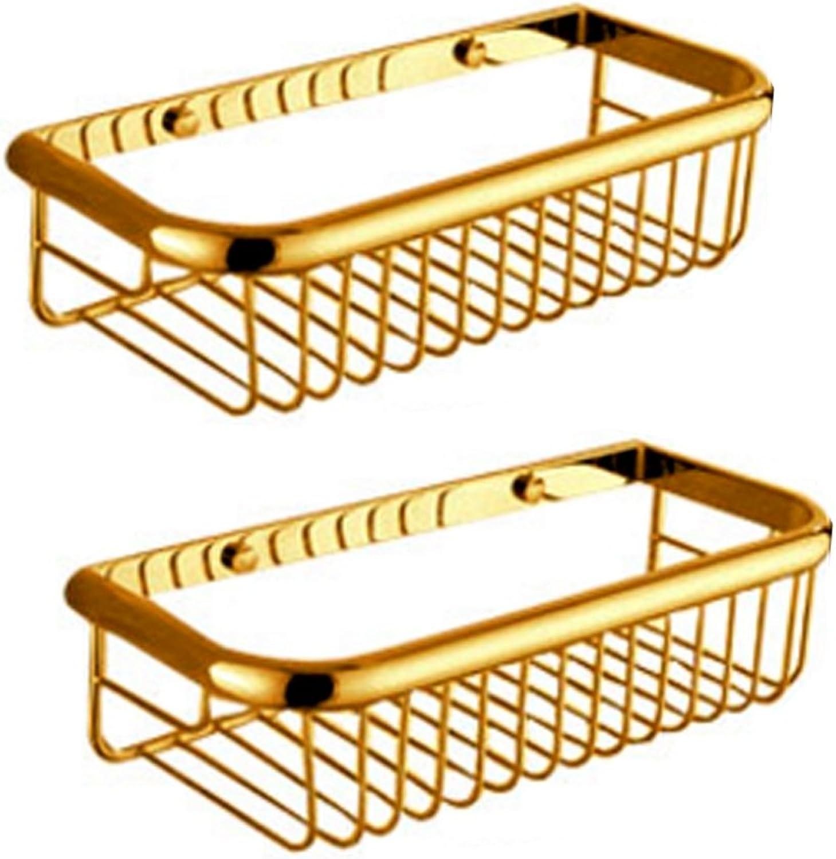 Yxsd Copper Bathroom Shelf Pendant gold European Antique Bathroom Storage Rack Double Basket Wall Mount 300  70  135mm (Size   Double Layer)