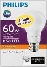 Philips LED Non-Dimmable A19 Frosted Light Bulb: 800-Lumen, 2700-Kelvin, 8.5-Watt (60-Watt Equivalent), E26 Base, Soft Whi...
